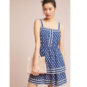 Anthro Maeve Oberlin Blue Tiered Dress